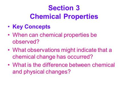 Section 3 Chemical Properties