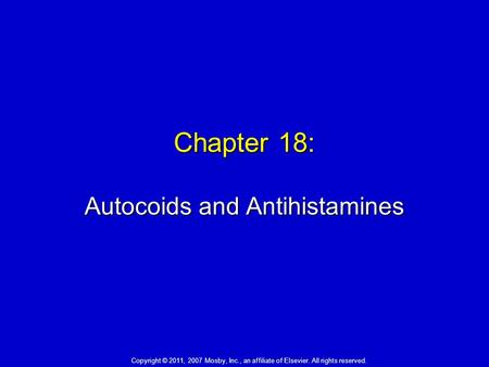 Chapter 18: Autocoids and Antihistamines