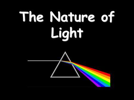 The Nature of Light. Part 1 – Properties of Light Light travels in straight lines: Laser.