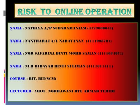 What is risk online operation:  massive movement of operation to the internet has attracted hackers who try to interrupt such operation daily.  To unauthorized.