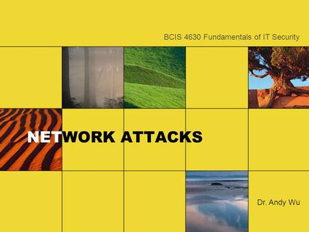 NETWORK ATTACKS Dr. Andy Wu BCIS 4630 Fundamentals of IT Security.