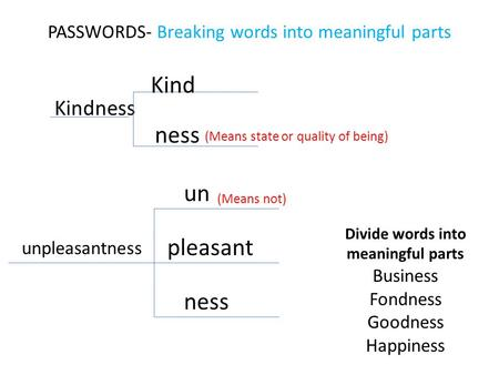 PASSWORDS- Breaking words into meaningful parts Kindness Kind ness (Means state or quality of being) unpleasantness un pleasant ness (Means not) Divide.