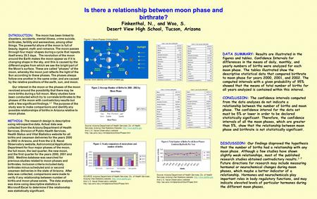 Is there a relationship between moon phase and birthrate? Finkenthal, N., and Woo, S. Desert View High School, Tucson, Arizona INTRODUCTION: The moon has.