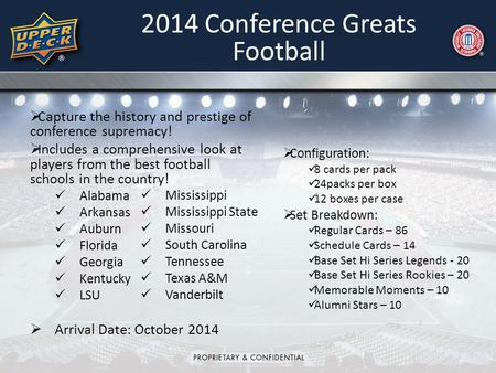 2014 Conference Greats Football  Configuration: 8 cards per pack 24packs per box 12 boxes per case  Set Breakdown: Regular Cards – 86 Schedule Cards.