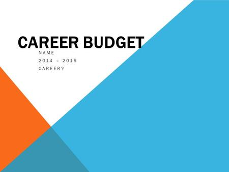 CAREER BUDGET NAME 2014 – 2015 CAREER?. CAREER Career Qualifications: Entry Level Pay: Education Loan Payment: Location: Employer: Insert Career Image.