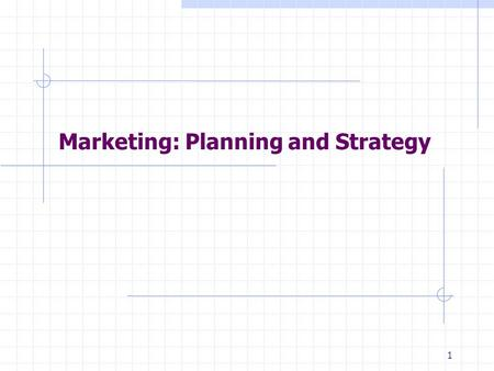 1 Marketing: Planning and Strategy. 2 Strategy: Definition A pattern of major objectives, goals, essential policies and plans that define the current.