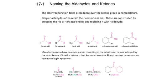 Naming the Aldehydes and Ketones