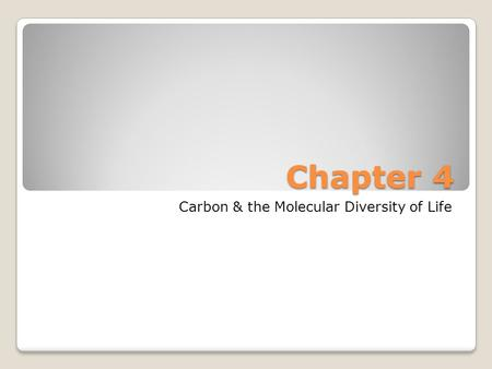 Chapter 4 Carbon & the Molecular Diversity of Life.