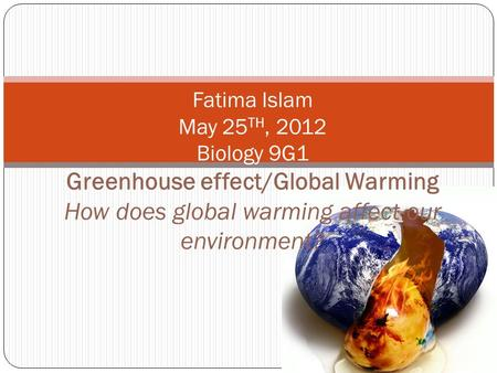 Fatima Islam May 25 TH, 2012 Biology 9G1 Greenhouse effect/Global Warming How does global warming affect our environment?