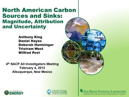 North American Carbon Sources and Sinks: Magnitude, Attribution and Uncertainty Anthony King Daniel Hayes Deborah Huntzinger Tristram West Wilfred Post.