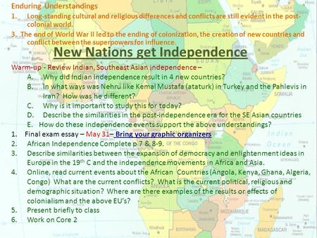 New Nations get Independence Enduring Understandings 1.Long-standing cultural and religious differences and conflicts are still evident in the post- colonial.