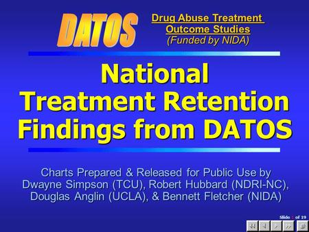 Slide 1 of 19 National Treatment Retention Findings from DATOS Charts Prepared & Released for Public Use by Dwayne Simpson (TCU), Robert Hubbard (NDRI-NC),