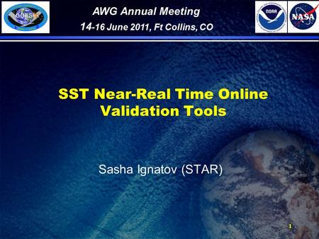 1 SST Near-Real Time Online Validation Tools Sasha Ignatov (STAR) AWG Annual Meeting 14 -16 June 2011, Ft Collins, CO.
