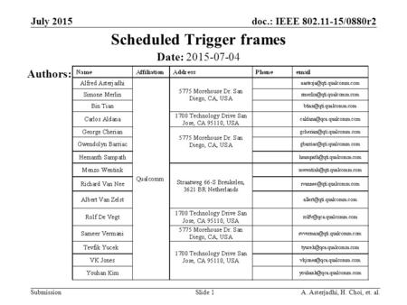 Doc.: IEEE 802.11-15/0880r2 Submission Scheduled Trigger frames July 2015 Slide 1 Date: 2015-07-04 Authors: A. Asterjadhi, H. Choi, et. al.