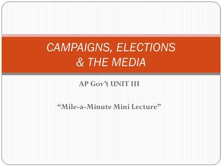 "AP Gov't UNIT III ""Mile-a-Minute Mini Lecture"" CAMPAIGNS, ELECTIONS & THE MEDIA."