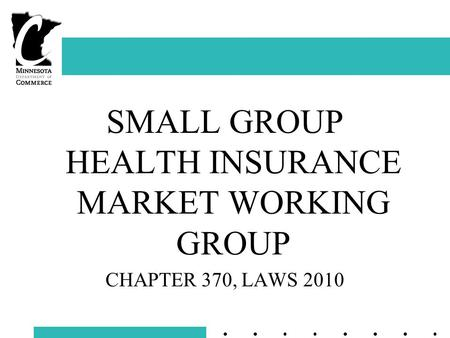SMALL GROUP HEALTH INSURANCE MARKET WORKING GROUP CHAPTER 370, LAWS 2010.