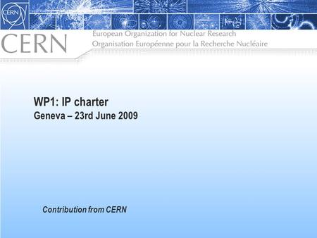 WP1: IP charter Geneva – 23rd June 2009 Contribution from CERN.