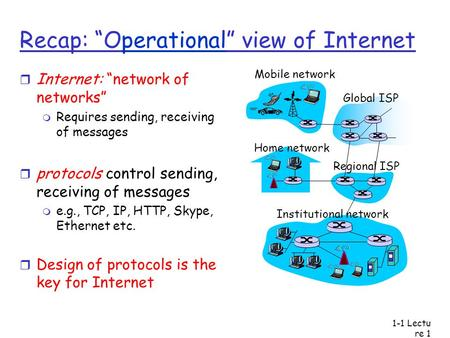 "Lectu re 1 Recap: ""Operational"" view of Internet r Internet: ""network of networks"" m Requires sending, receiving of messages r protocols control sending,"