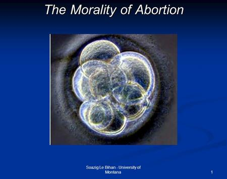 1 The Morality of Abortion Soazig Le Bihan - University of Montana.