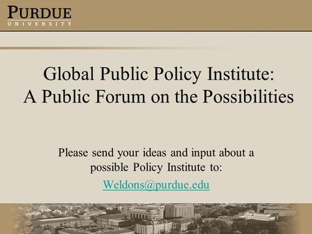 Global Public Policy Institute: A Public Forum on the Possibilities Please send your ideas and input about a possible Policy Institute to: