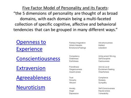 "Five Factor Model of Personality and its Facets: ""the 5 dimensions of personality are thought of as broad domains, with each domain being a multi-faceted."