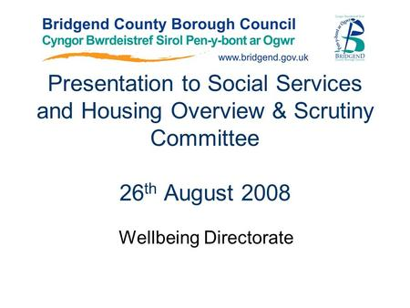 Presentation to Social Services and Housing Overview & Scrutiny Committee 26 th August 2008 Wellbeing Directorate.