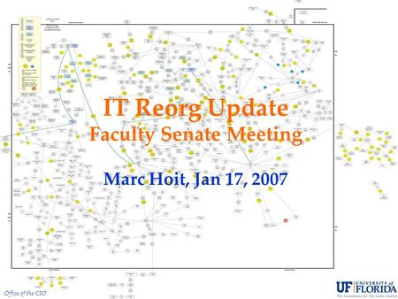 Office of the CIO IT Reorg Update Faculty Senate Meeting Marc Hoit, Jan 17, 2007.