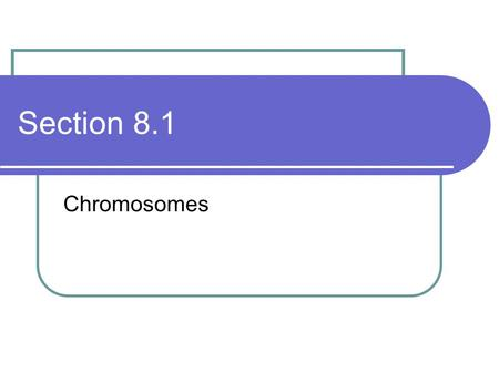 Section 8.1 Chromosomes. Chromosome structure Chromosomes are visible during cell reproduction only Chromatin – the same material in between cell divisions.