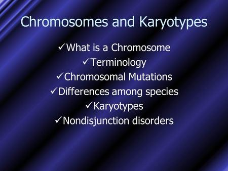 Chromosomes and Karyotypes What is a Chromosome Terminology Chromosomal Mutations Differences among species Karyotypes Nondisjunction disorders.