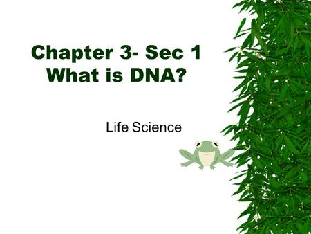 Chapter 3- Sec 1 What is DNA?