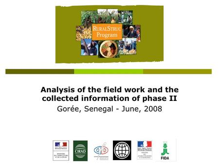 Analysis of the field work and the collected information of phase II Gorée, Senegal - June, 2008.