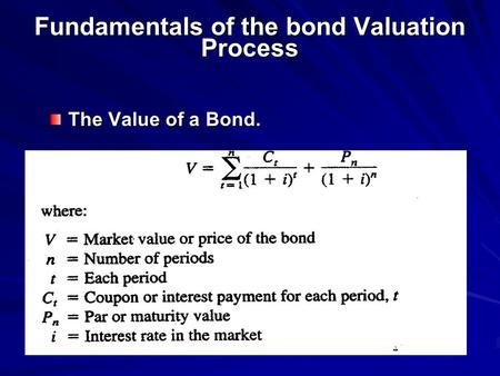 Fundamentals of the bond Valuation Process The Value of a Bond.