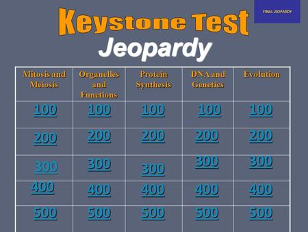 Jeopardy Mitosis and Meiosis Organelles and Functions Protein Synthesis DNA and Genetics Evolution 300 300300 FINAL JEOPARDY 100 200 400 500 100 200 300.