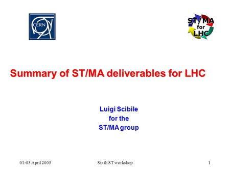 ST/MAforLHC 01-03 April 2003Sixth ST workshop1 Summary of ST/MA deliverables for LHC Luigi Scibile for the ST/MA group.