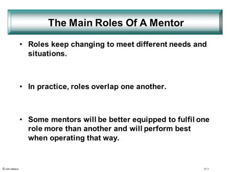 © John Mallison 17.1 Roles keep changing to meet different needs and situations. In practice, roles overlap one another. Some mentors will be better equipped.