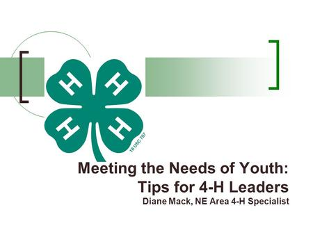 Meeting the Needs of Youth: Tips for 4-H Leaders Diane Mack, NE Area 4-H Specialist.