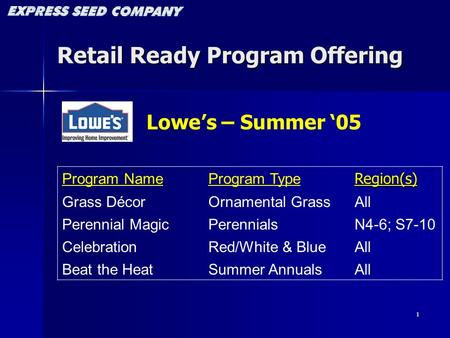 1 Retail Ready Program Offering Program NameProgram TypeRegion(s) Grass DécorOrnamental GrassAll Perennial MagicPerennialsN4-6; S7-10 CelebrationRed/White.