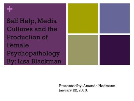 + Self Help, Media Cultures and the Production of Female Psychopathology By: Lisa Blackman Presented by: Amanda Hedmann January 22, 2013.