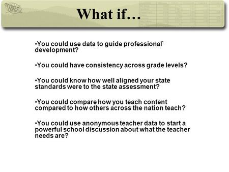 What if… You could use data to guide professional` development? You could have consistency across grade levels? You could know how well aligned your state.