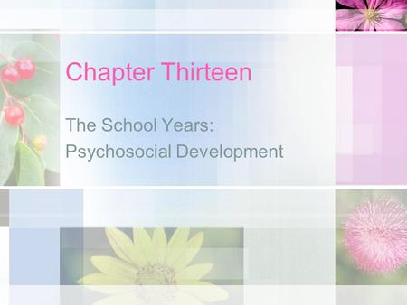 Chapter Thirteen The School Years: Psychosocial Development.