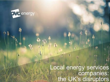 Local energy services companies: the UK's disruptors Reg Platt, Senior Partnerships Manager.