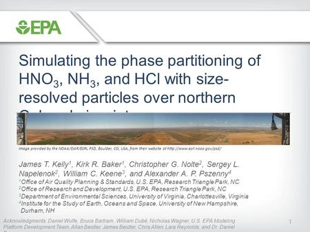 1 Simulating the phase partitioning of HNO 3, NH 3, and HCl with size- resolved particles over northern Colorado in winter James T. Kelly 1, Kirk R. Baker.