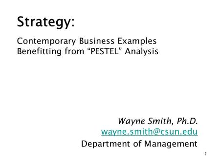 Wayne Smith, Ph.D. Department of Management