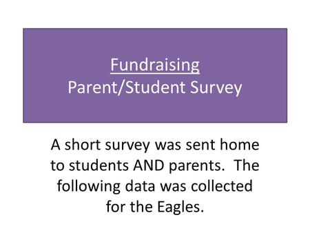 Fundraising Parent/Student Survey A short survey was sent home to students AND parents. The following data was collected for the Eagles.