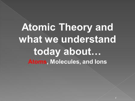 1 Atomic Theory and what we understand today about… Atoms, Molecules, and Ions.