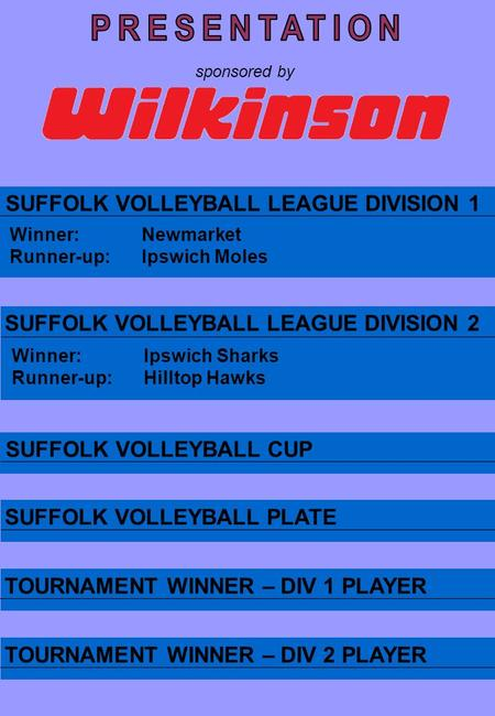 SUFFOLK VOLLEYBALL LEAGUE DIVISION 1 SUFFOLK VOLLEYBALL LEAGUE DIVISION 2 SUFFOLK VOLLEYBALL CUP SUFFOLK VOLLEYBALL PLATE Winner:Newmarket Runner-up:Ipswich.