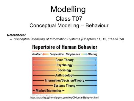 Modelling Class T07 Conceptual Modelling – Behaviour References: –Conceptual Modeling of Information Systems (Chapters 11, 12, 13 and 14)
