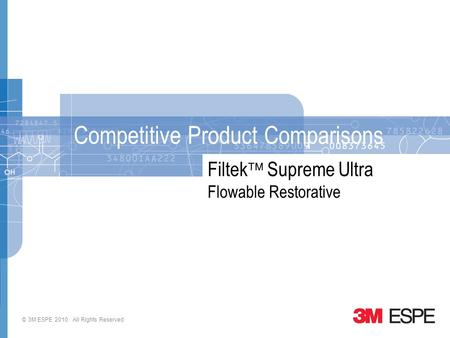 © 3M ESPE 2010. All Rights Reserved Filtek  Supreme Ultra Flowable Restorative Competitive Product Comparisons.