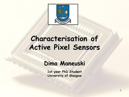 Characterisation of Active Pixel Sensors