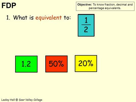 FDP Objective: To know fraction, decimal and percentage equivalents. Lesley Soar Valley College 1 2 50% 1.What is equivalent to: 1 2 1.220%